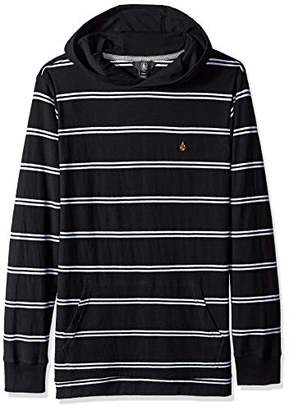 Volcom Men's Randall Knit Long Sleeve Hooded Striped Shirt