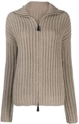 Dusan zip-up knitted cardigan