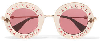 Gucci - Round-frame Acetate And Gold-tone Sunglasses - Pink $620 thestylecure.com