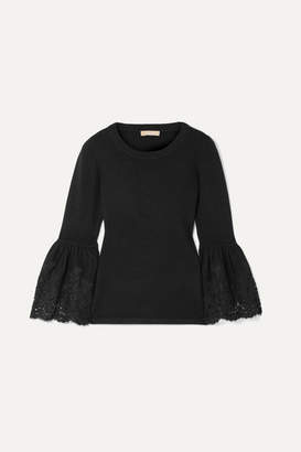 Michael Kors Lace-trimmed Cashmere-blend Sweater - Black