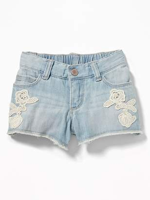 Old Navy Lace-Applique Denim Cut-Offs for Toddler Girls
