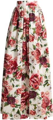 Dolce & Gabbana Peony and rose-print cotton-poplin skirt