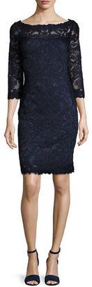 Tadashi Shoji 3/4-Sleeve Lace Cocktail Dress, Navy $430 thestylecure.com