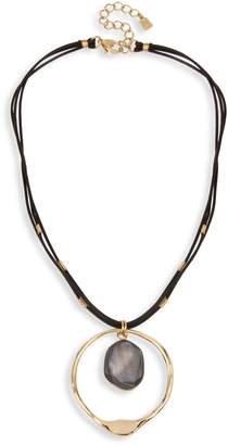 Robert Lee Morris Soho Grey Mood Goldtone Leather Sculptural Circle Pendant Necklace