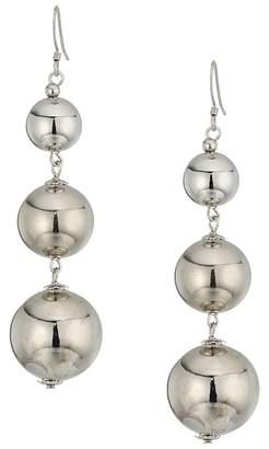 Kenneth Jay Lane Polished Silver 3 Small To Large Bead Drop Fishook Top Ear Earrings Earring
