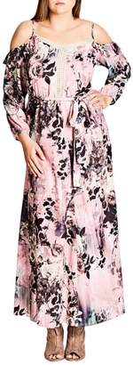 City Chic Divine Rose Cold Shoulder Maxi Dress