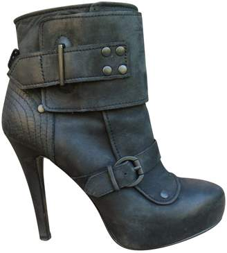 Ash Grey Leather Ankle boots