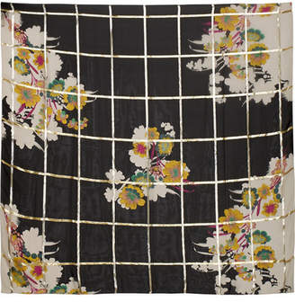 Etro Metallic Printed Silk-blend Jacquard Scarf - Black