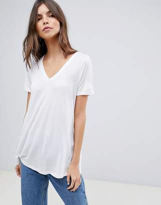 Asos DESIGN v-neck swing t-shirt in white