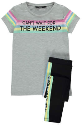George Weekend Vibes Slogan Top and Leggings Outfit