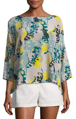 M Missoni Seaweed-Print Silk Top