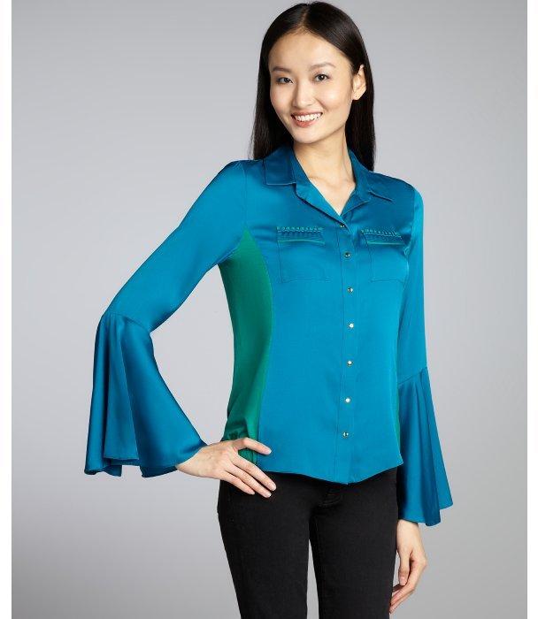 Elie Tahari laguna blue silk stretch woven and fiji green stretch jersey knit 'Ivanna' colorblock blouse
