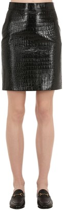 Gucci CROC EMBOSSED LEATHER MINI SKIRT