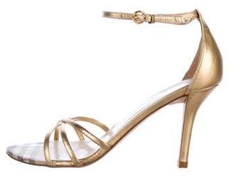 Burberry Metallic Ankle Strap Sandals