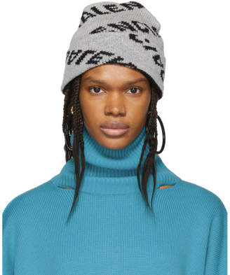 Balenciaga Grey and Black Jacquard Logo Beanie