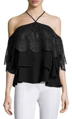 Cinq à Sept Fleur Tiered Lace Cold-Shoulder Top, Black