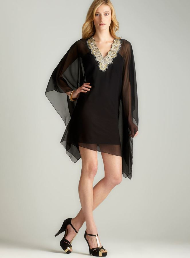 JS Collections Sheer Neckline Beaded Dress