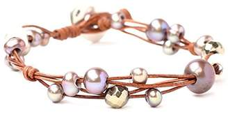 Chan Luu Freshwater Cultured Pearl Single Wrap Bracelet on Natural Leather ()