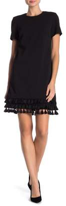 Modern American Designer Tassel Trim Short Sleeve Dress