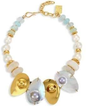 Lizzie Fortunato Puglia 18K Goldplated 18mm Baroque Pearl, Quartz, & Aquamarine Shell Bib Necklace