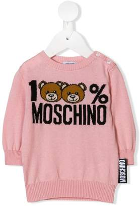 Moschino Kids intarsia logo knit jumper