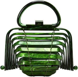 Cult Gaia Lilleth Acrylic Green Fold Top Bag