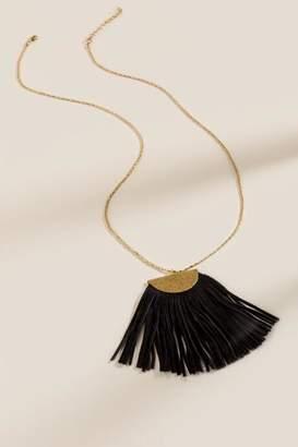 francesca's Riley Fringed Long Pendant Necklace - Black