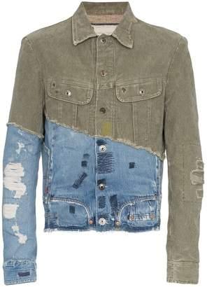 Greg Lauren denim panel distressed cotton jacket