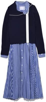 Sacai Cotton Poplin Dress x Knit Jacket in Navy/Stripe