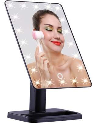HURRISE 22 LED Makeup Mirror, Touch Screen Lighted Makeup Mirror, Rectangle Desktop Cosmetic Mirror with Removable 10x Magnifying Mirror (Black)