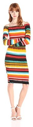 MISA Women's Printed Jacquard Long Sleeve Off Shoulder Dress $37.47 thestylecure.com