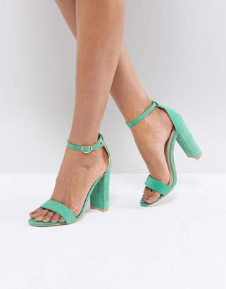 Glamorous Green Barely There Block Heeled Sandals