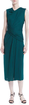 Jason Wu Cowl-Neck Sleeveless Crepe Jersey Draped Sheath Dress