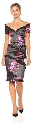 Nicole Miller Women's Falling Flowers Ruffled Demi Dress