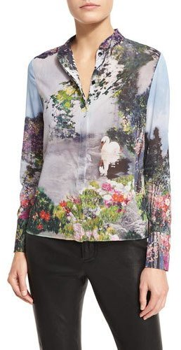 Alice + OliviaAlice + Olivia Vina Printed Mandarin-Collar Shirt