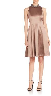Kay Unger Women's Beaded Fit-And-Flare Dress
