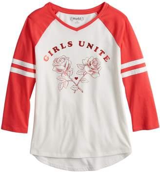 Mudd Girls 7-16 & Plus Size 3/4-Sleeve Raglan Graphic Tee