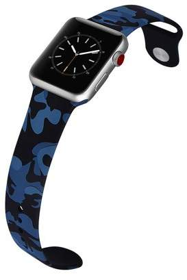 LAX Gadgets LAX Apple Watch 42mm Sport Ultra Soft Silicone Band - Blue Camouflage - for Apple Watch Series 3, 2, 1, Sport