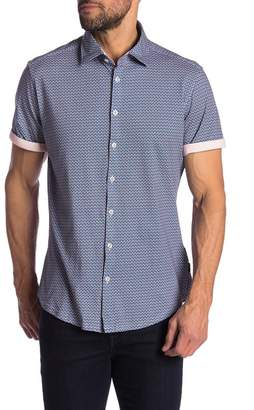 Stone Rose Trim Fit Circle Geo Print Sport Shirt