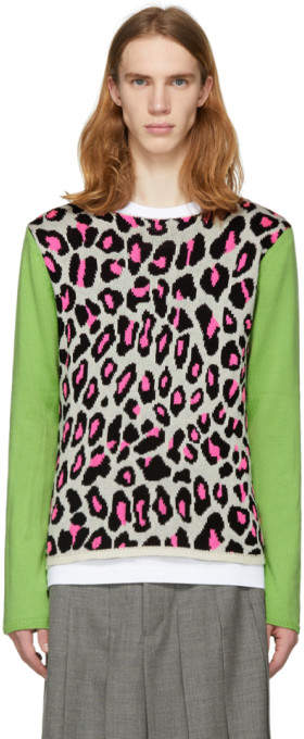 White and Green Knit Leopard Sweater