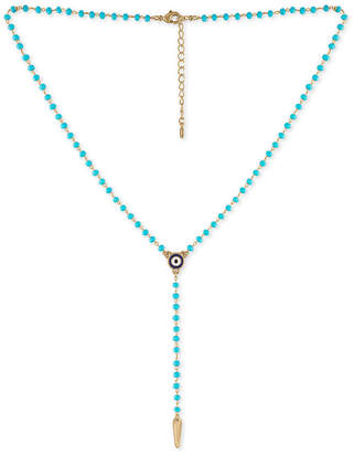 "Rachel Roy Gold-Tone Beaded Lariat Necklace, 15-1/2"" + 2"" extender"