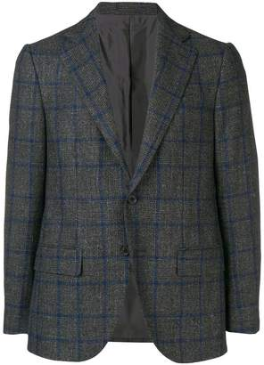 Caruso plaid fitted blazer
