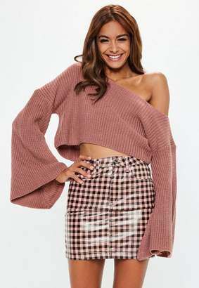 Missguided Petite Pink Off Shoulder Flare Sleeve Sweater