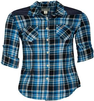 Converse Womens Trilla Pocket Slim Fit Checked Short Sleeve Shirt Mykonos Blue