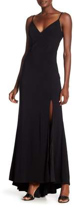 Jump Plunge V-Neck Jersey Gown