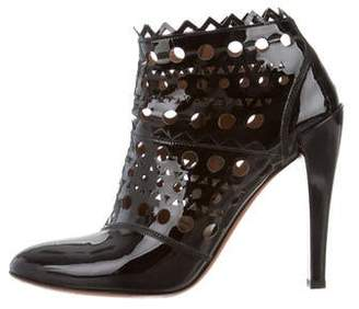 Alaia Patent Leather Laser Cut Booties