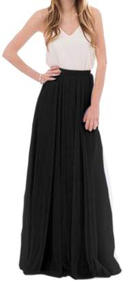Omelas Womens Long Floor Length Tulle Skirt High Waisted Maxi Tutu Party Dress