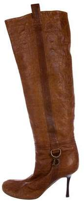 Christian Dior Cannage Leather Knee-High Boots