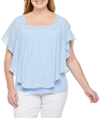 Alyx Womens Square Neck Short Sleeve Blouse-Plus