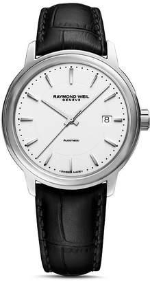 Raymond Weil Maestro Black Leather Strap Automatic Watch, 39.5mm
